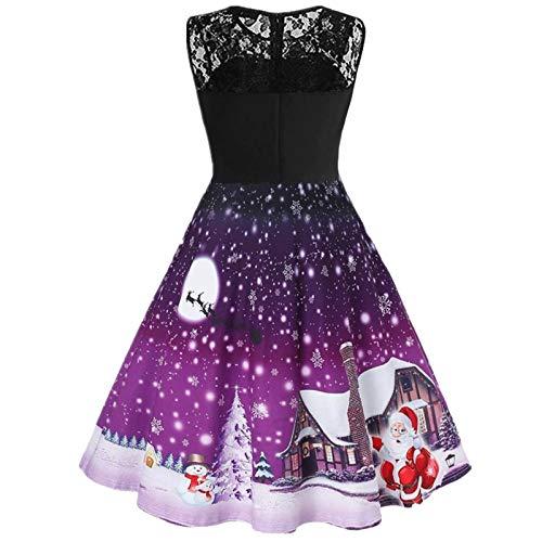 OPIAL Damen Weihnachtskleider Vintage ärmellose Off Shoulder Spitze Weihnachten...