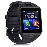 Qiufeng DZ09 Smart Watch Smartwatch Bluetooth Touchscreen Sweatproof Phone with Camera TF/SIM Card Slot for Android and iPhone Smartphones for Kids Girls Boys Men Women(Black)