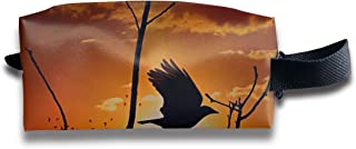 Szipry Cosmetic Bag Travel Handbag Bird Flying Tree Prints Womens Girls Toiletry Bag Zipper Wallet with Wrist Band