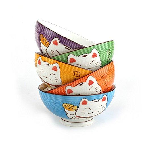 COFFRET de 5 BOLS Design JAPONAIS - Motifs Chats Maneki Neko