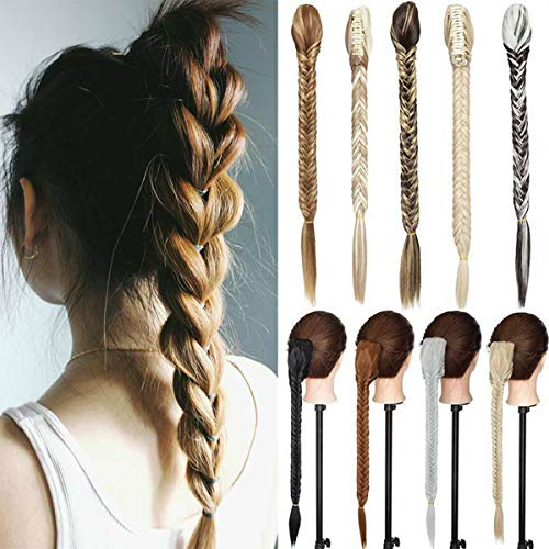 21' Claw Jaw Braiding Hair Piece Fishtail Braids Clip in Hair Extensions Braid Ponytail Extension with a Claw/Jaw Clip Dark Brown & Silver Grey