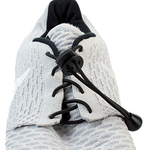 Kobert-Goods Elastische Schnürsenkel Schwarz Flexy Lock Lace Schnell-Verschluss System für Jugendliche Erwachsene ohne Binden Perfekter Sitz und Halt für jeden Schuh geeignet