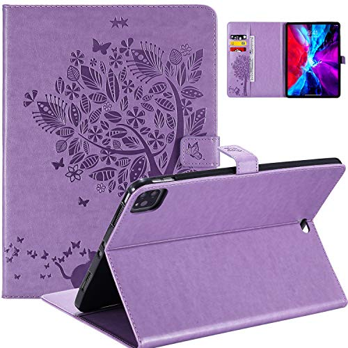WHWOLF Wallet Case for iPad Pro 11 (2020 & 2018 version), Folio Stand Cover Tablet Case Shockproof Protective Slim Shell -purple