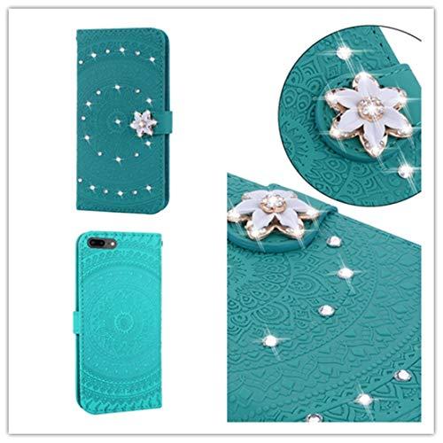Wdckxy - Funda de teléfono para iPhone 6 Plus, impresión prensada, diseño de taladro de impresión horizontal, tapa de teléfono con soporte, ranuras para tarjetas, cartera y cordón (color verde hierba)