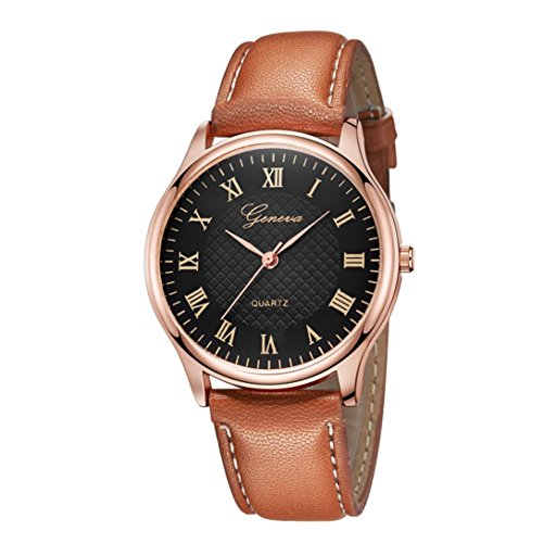 Classic dameshorloge, Pottoa vrouwen Genf Romeinse horloge | Dames lederen band horloge | analoog kwarts polshorloges | dames horloges lederen armband
