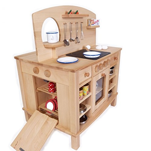 4-seitig bespielbare Kinder-Spielküche 2050 - Massivholz - Backofen-Herd-Spüle