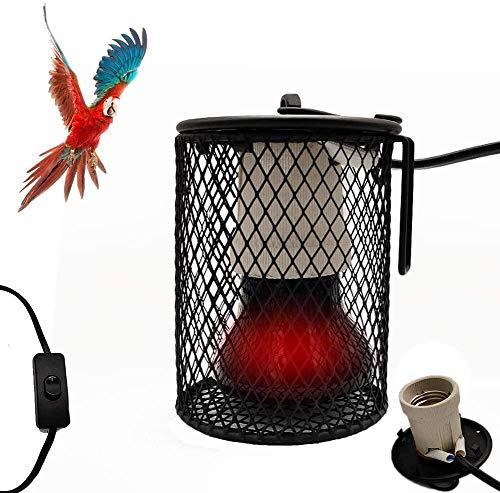 WSZYBAY Pantalla de lámpara de Calor de Seguridad para Mascotas, lámpara Creativa del Reptil de Calor con Anti-mordedura Hierro Tubo, Suspender Las Aves Jaula para Loros 2,80 5.51in, 50W