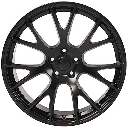 """Partsynergy Replacement For 20"""" Rim fits 2006-2019 Dodge Charger Challenger Hellcat Style Satin Black 20x9 Aluminum Wheel"""