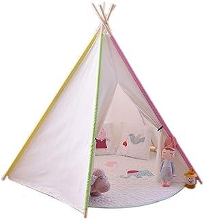 Vobajf Barn lektält barn tipi-tält barn leker tält för baby inomhus och utomhus leker hopfällbara tipi-tält lektält (färg:...