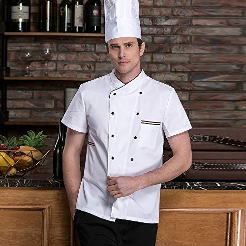 FHFF Kochmütze für Restaurant, Unisex, Hotel, Arbeitskleidung für Küche, kurze Ärmel, professionelle Kleidung, XL