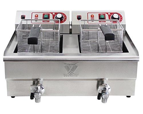 Beeketal 'BWF-132P' Profi Gastronomie Doppel Kaltzonen Fritteuse (2 x 13 Liter Volumen für max. 2 x 8,5 Liter Öl) Edelstahl Gastro Imbiss Friteuse mit Doppelheizspirale und Fettablaufhahn