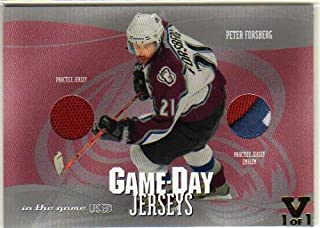 2003-04 ITG Used Signature Series Game-Day Jerseys #8 Peter Forsberg Jersey Patch Card - From the Vault Version #1/1 - Avalanche