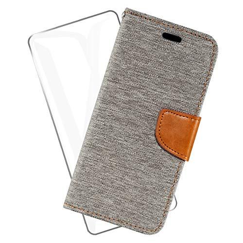 SCDMY Hülle für LG K42 Handyhülle + HD Schutzfolie, PU Flip Leder Hülle Cover Ständer Funktion Schutzhülle Kredit Card Slots Wallet Hülle Schale Handytasche - Grauer