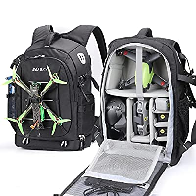SEASKY Warrior FPV Backpack for DJI FPV Combo Drone Racing Quadcopter Shoulder Bag Outdoor Portable for Carry Remote Controller Video Goggles Lipo Batteries with Waterproof Rain Cover