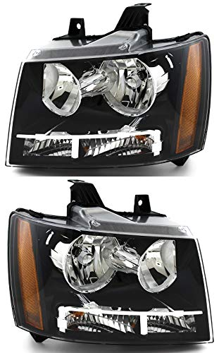 For Chevrolet Chevy Tahoe/Hybrid | Suburban | Avalanche Headlight 2007 2008 2009 2010 2011 Driver and Passenger Side Headlamp Assembly Replacement