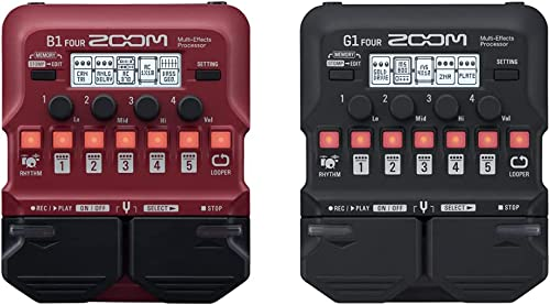 Zoom B1 FOUR Bass Guitar Multi-Effects Processor Pedal, With 60+ Built-in effects & Zoom G1 FOUR Guitar Multi-Effects...