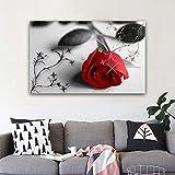 wZUN Cartel de Randa Kape de Flor de Rosa roja y Grabado Mural Arte Lienzo Pintura Imagen en Blanco y Negro decoración Moderna del hogar 50X75CM