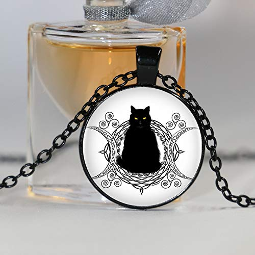 Collar con colgante con diseño de luna y gato y trisquel en espiral, para mujer