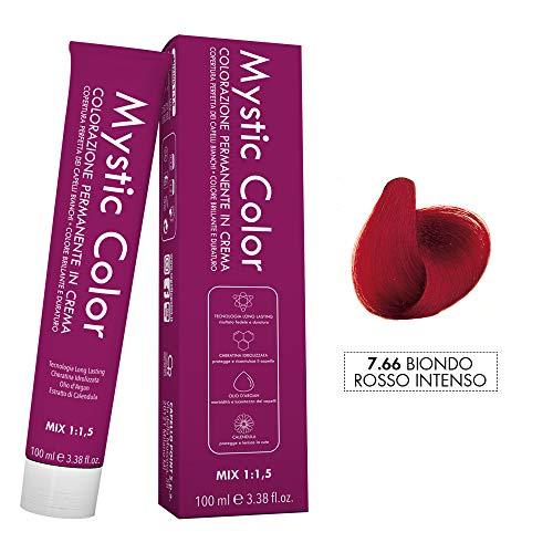 Mystic Color - Crème Colorante Permanente à l'Huile d'Argan et au Calendula - Coloration Longue Durée - Couleur Blond Rouge Intense 7,66 - 100ml