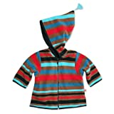 Zutano Infant Baby-Boys Cozie Bold Strp Black Zip Jacket With Hood, Black, 6 Months