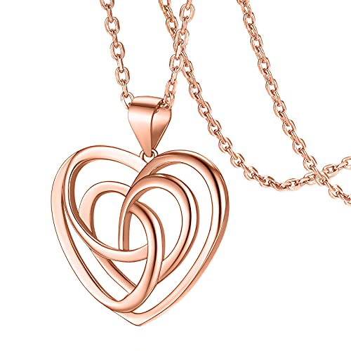 FaithHeart Irish Jewelry Celtic Knot Necklace Sterling Silver Rose Gold Heart Pendant with 20 Inch Cable Chain Necklaces Norse Viking Wicca Amulet Accessories