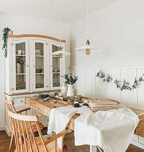 Cikonielf Aparador con vitrina de madera maciza de pino 132 x 43 x 196 cm Aparador rústico con 3 cajones, 3 armarios y 9 compartimentos – Blanco con parte superior marrón