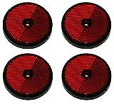 4 x REAR RED REFLECTOR SCREW TRAILER TRUCK HORSEBOX TRACTOR ROUND MP854B MAYPOLE