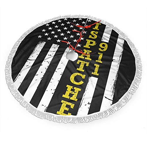 antcreptson 911 Dispatcher Thin Gold Line Flag Merry Christmas Christmas Tree Skirt 36'' Tree Skirt for Holiday Christmas Decorations Xmas Tree Skirt Xmas Decorations