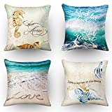 Beach Throw Pillow Covers Outdoor Decorative Sea Coastal Theme Decor Cushion Square Pillowcase Decorative Pillows for Living Room Bed Sofa and Car Throw Pillow Covers 18x18 Inch Set of 4 Blue