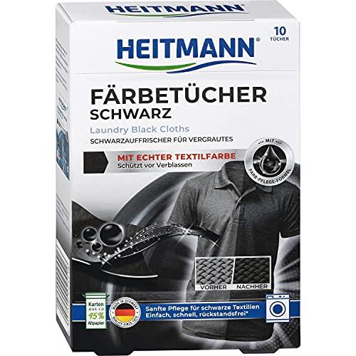 Heitmann fogli ravvivacolore nero: Fogli coloranti per capi in tessuto nero. Contro lo sbiadimento - 10 pezzi, nero