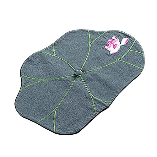 Tableau De Lotus Feuille De Lotus, Placelet À Café De Broderie Lotus, Runner De La Ligne De Coton Non Amortisseur 11.8 × 19.7inch, Lavable (Color : Gray blue, Size : 30×50cm)