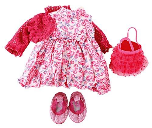 Götz 3402294 Kombination Roses mit Blumendruck - Rosalie Puppenbekleidung Gr. XL - 5-teiliges Bekleidungs- u. Zubehörset für Stehpuppen von 45 - 50 cm