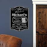 zqyjhkou Personnalisé Nom de Famille Art Wall Sticker Home Decor Salon Décoration Custom Happy Hour Bière Decal Vinyle Affiche A54.6X74.1CM