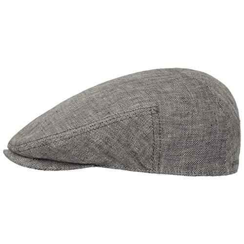 Stetson Woodfield Linen Flatcap - Leinenmütze Herren - Schirmmütze aus Leinen mit UV-Schutz (+40) - Sommercap Herringbone - Flat Cap Frühjahr/Sommer - Herrenmütze anthrazit XL (60-61 cm)