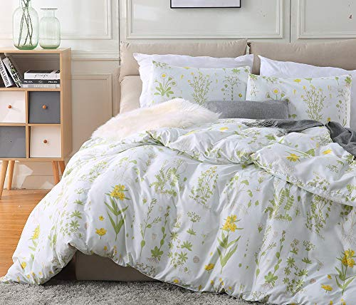 Fire Kirin Botanical Duvet Cover Set 3pc(1 Duvet Cover + 2 Pillowcases) Yellow Flowers and Green Leaves Floral Garden Pattern Printed Bedding Cover Sets (Queen)