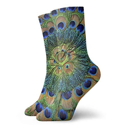 Socks Calcetines Schöne Peacock Feather Circle Calcetines cortos unisex para adultos que absorben la humedad atléticos para correr, fitness, viajes, trabajo