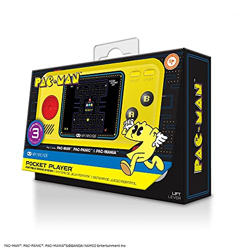 My Arcade Pocket Player Handheld Game Console: 3 Built In Games, Pac-Man, Pac-Panic, Pac-Mania, Collectible, Full Color Display, Speaker, Volume Controls, Headphone Jack, Battery or Micro USB Powered