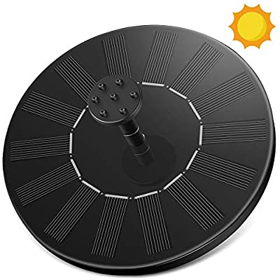 Solar Pumps for Fountains Bird Bath, Aigital Portable Solar Powered Fountain Water Pump for Outdoors with 6 Nozzles, Easy Installation, Pond, Garden Decoration, Swimming Pool, Height 20cm-65cm
