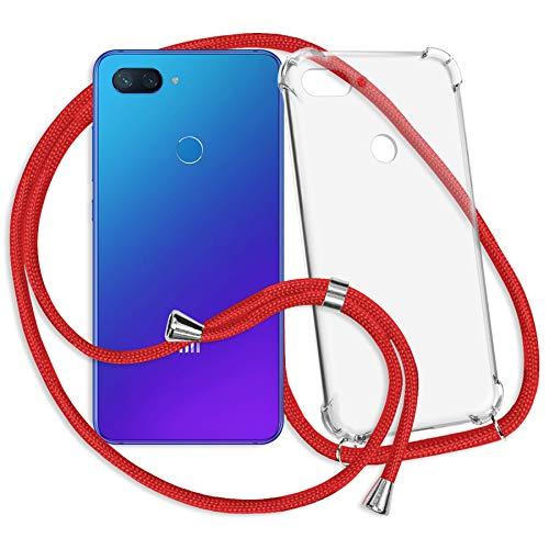 mtb more energy® Collar Smartphone para Xiaomi Mi 8 Lite (6.26'') - Rojo - Funda Protectora ponible - Carcasa Anti Shock con Cuerda