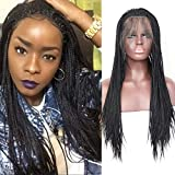 BLUPLE Micro Braided 1b Synthetic Lace Front Wigs Fully Hand Tied Heat Resistant Hair Braiding Styles Fiber Hand Braided Wig for Black Women (24 inches, Micro Braided,#1B)