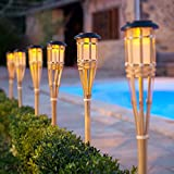 Lights4fun Pair of Large Solar Powered LED Bamboo Garden Tiki Torches