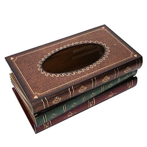 Legno Scatola di Fazzoletti, a Forma di Libro Portatovaglioli, Libro Antico Supporto per la Conservazione della Carta Novità Porta Fazzoletti Dispenser Retrò Artigianato in Legno