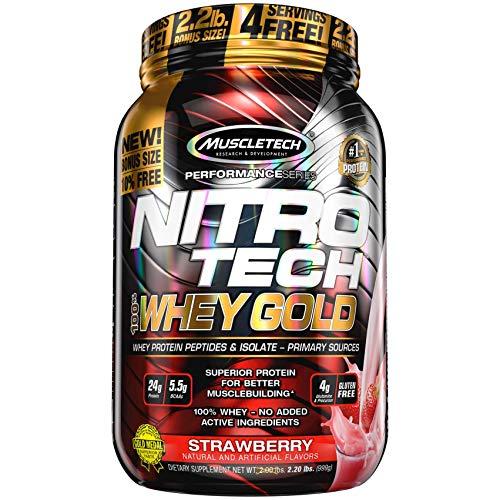 Muscletech Performance Series Nitro Tech 100% Whey Gold, Strawberry, 1134 g