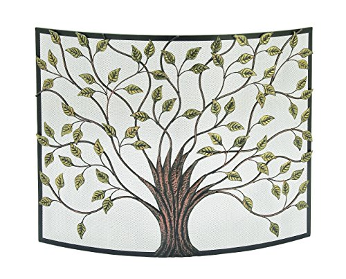 Deco 79 Lovely Traditional Metal Fire Screen, 33' H x 3 L, Textured Black and Gold