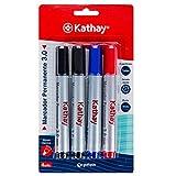 Kathay 86211699. Pack de 4 Rotuladores Permanentes, Colores Negro, Azul y Rojo, Punta Cónica 3mm, Secado Rápido, Todo Tipo de Superficies