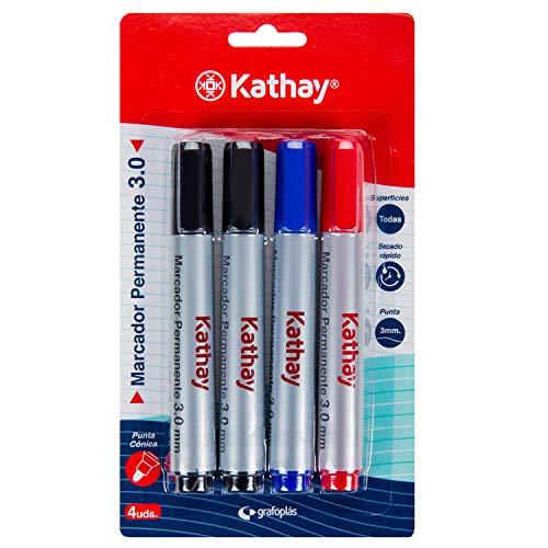 Kathay 86211699. Pack de 4 Rotuladores Permanentes, Colores Negro, Azul y Rojo,...