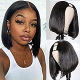 U Part Bob Wigs U Part Clip in Wig Short Straight Human Hair Wigs for Black Women Brazilian Straight Bob Wigs 150% Density Natural Color U Shape Wigs Supernova Hair (14 Inch)