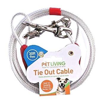 Pet Living Câble d'attache pour chien en acier robuste Argenté