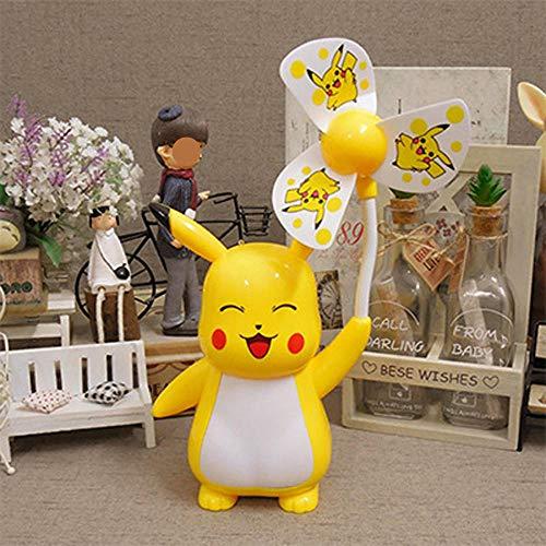 BaoQia Cartoon Kleiner Lüfter, der Nachtlicht stummschaltet, stumm USB-elektrischer Lüfter-Pikachu 2_17 * 9,5 * 26