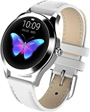 Smart Touch KW10 Ladies Smart Watch, IP68 Waterproof, Bluetooth | Sleep & Heart Rate Monitor, Pedometer, Physiological Reminder, Remote Camera| Smartwatch for Women w/Changeable Wrist Bands (White)